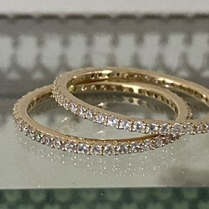 Sterling, Gold-pl, CZ, Infinity, Stacking Rings.